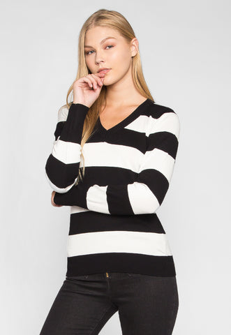 Be My Soulmate V-Neck Stripe Fitted Cardigan in Black