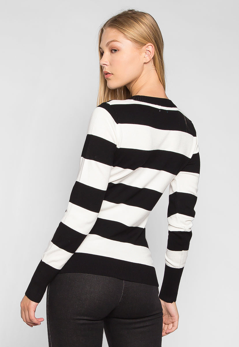 Be My Soulmate V-Neck Stripe Fitted Cardigan in Black - Sweaters & Sweatshirts - Wetseal