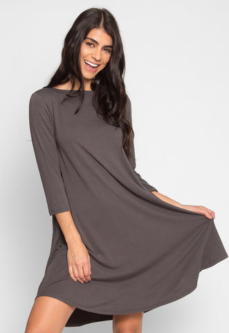 Airwaves Lattice Dress in Charcoal