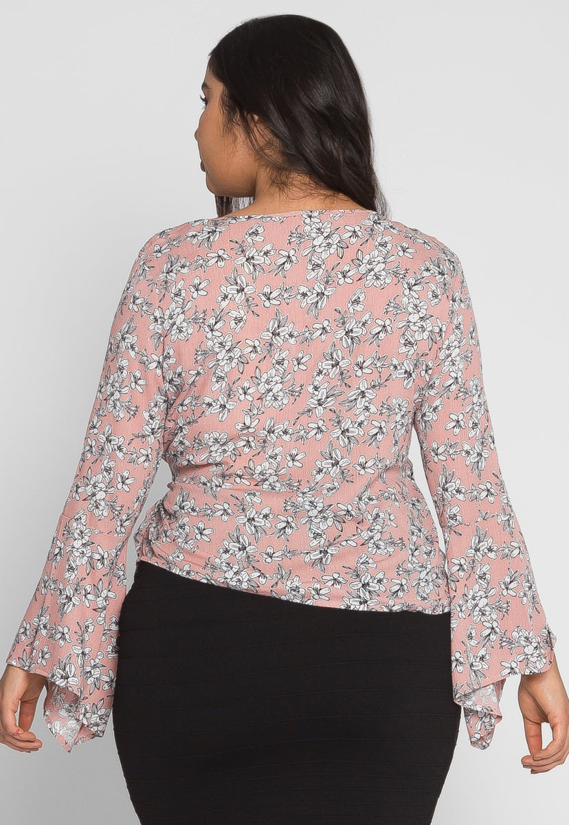 Plus Size Maddy Floral Wrap Top in Pink - Plus Tops - Wetseal