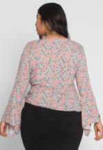 Plus Size Maddy Floral Wrap Top in Pink