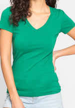 Olivia Fitted V-Neck Tee in Green
