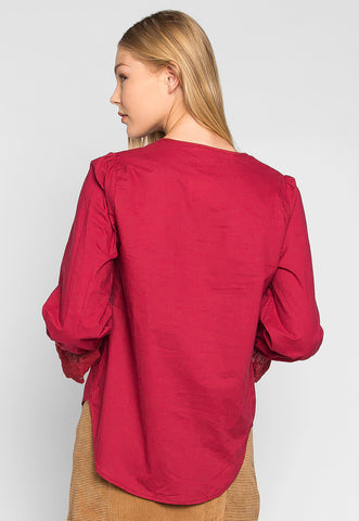 In the Air Pintuck Bell Cuffs Blouse in Burgundy