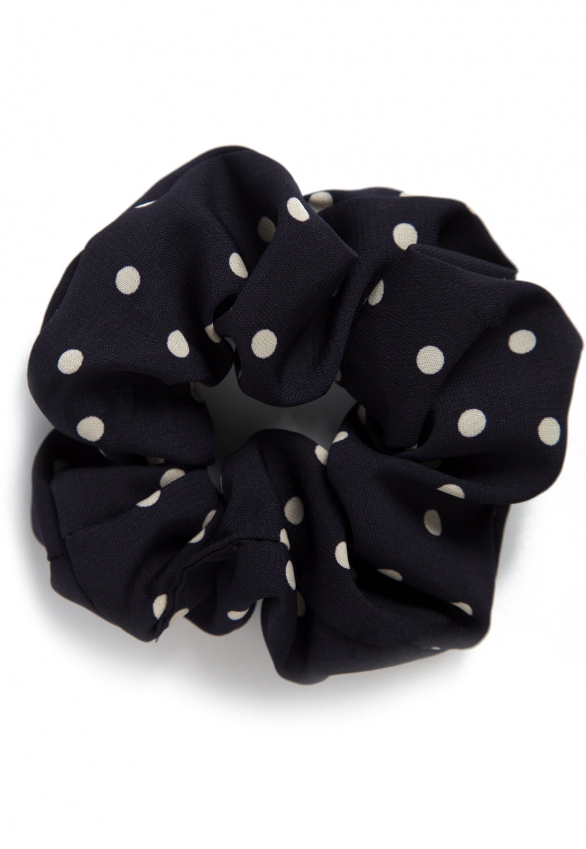 The Large Polka Dot Scrunchie in Navy - Hat & Hair - Wetseal