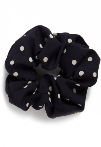 The Large Polka Dot Scrunchie in Navy