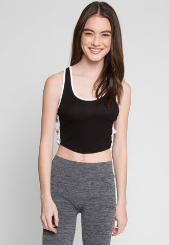 Bella Side Tie Detail Crop Top in Black