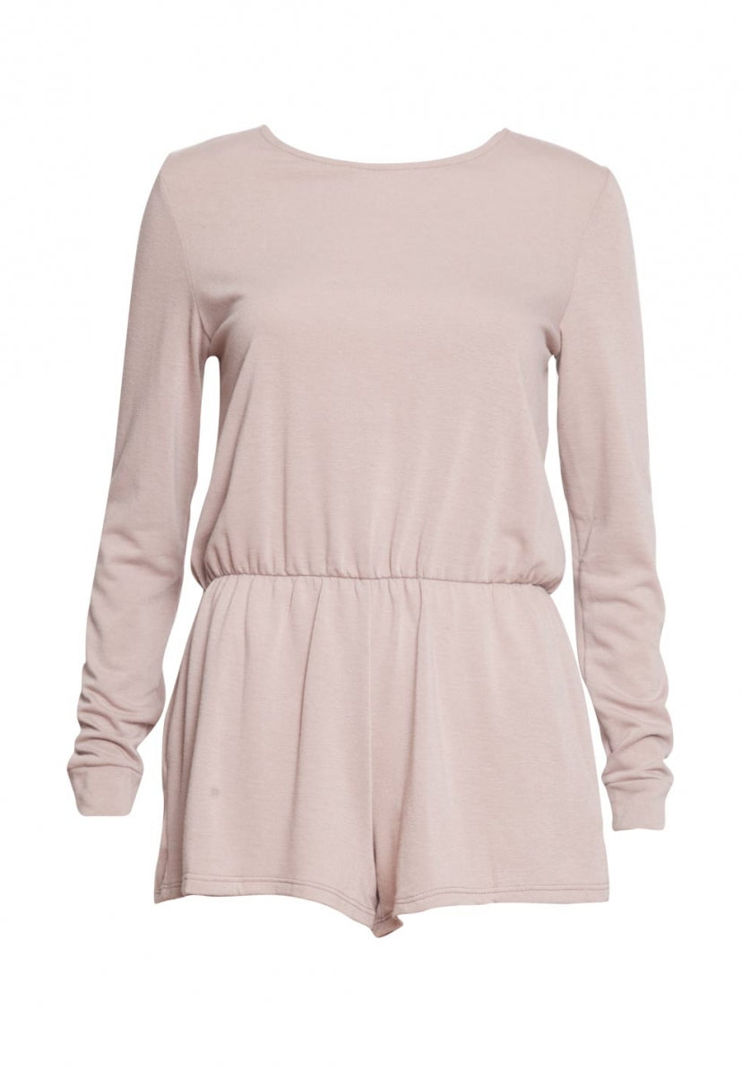 Opulent Long Sleeve Romper in Taupe - Rompers & Jumpsuits - Wetseal