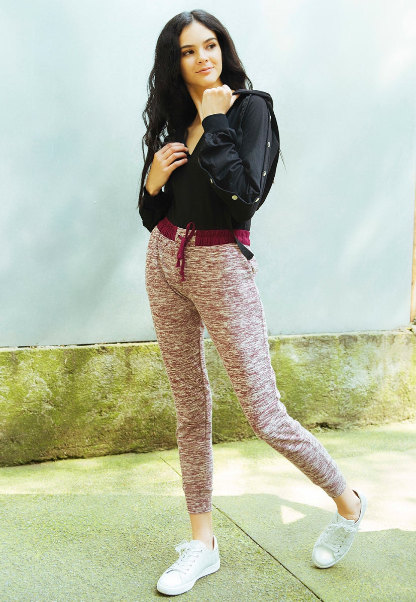 Fireplace Lounge Joggers in Burgundy - Pants - Wetseal