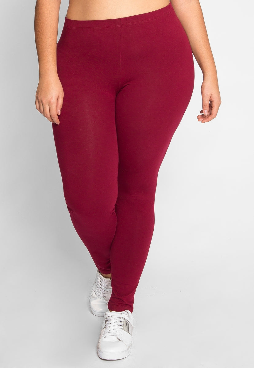 Plus Size Hallways Cotton Leggings in Burgundy - Plus Bottoms - Wetseal