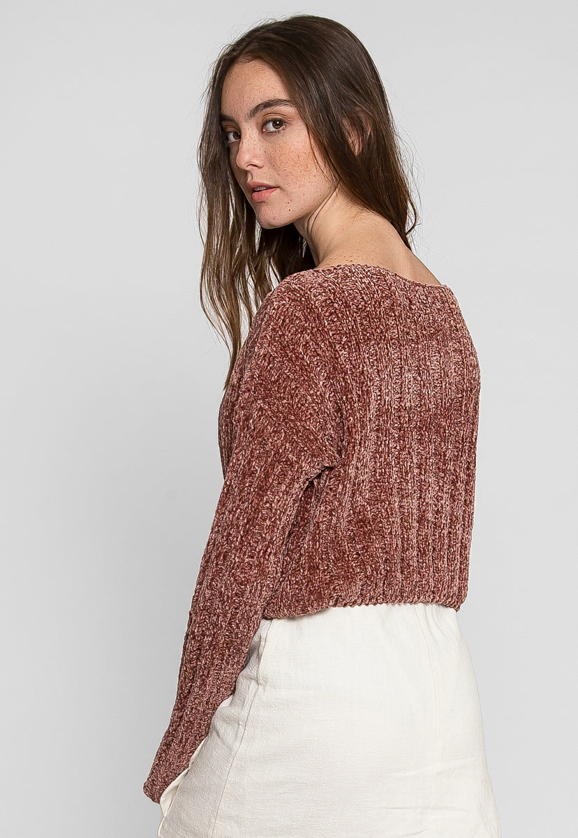 Rae Chenile Crop Sweater in Mauve - Sweaters & Sweatshirts - Wetseal