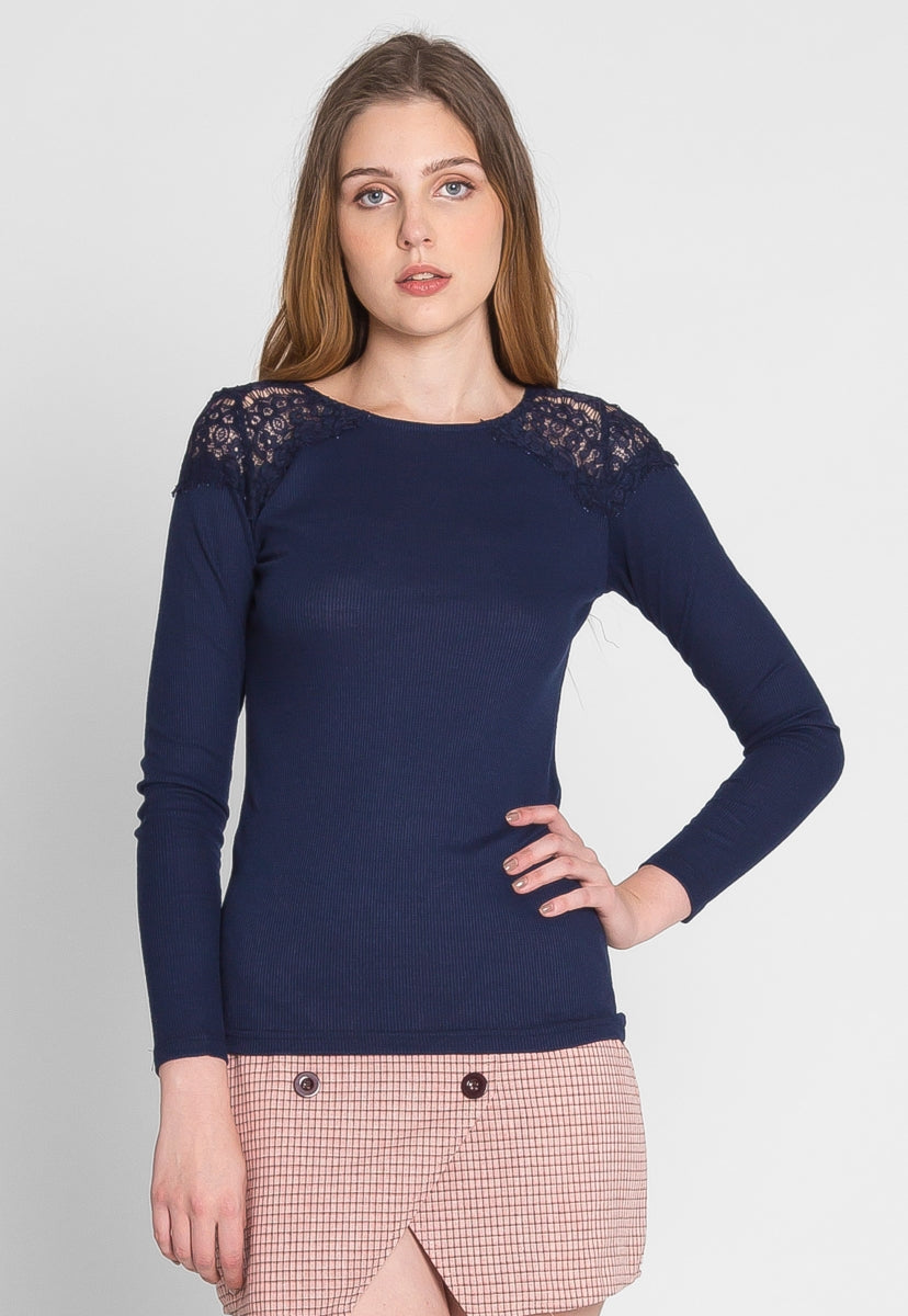 Alaska Applique Thermal Top in Navy - Shirts & Blouses - Wetseal