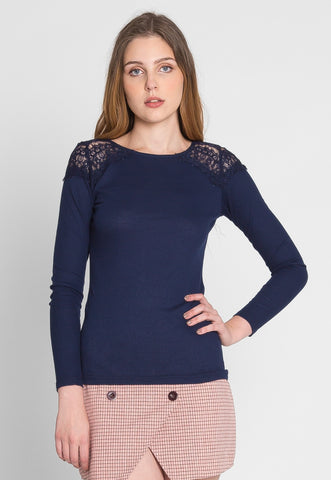 Alaska Applique Thermal Top in Navy