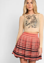 Prowling Mesh Tiger Print Top in Nude