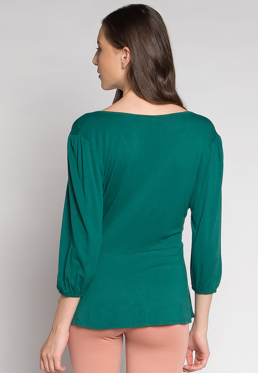 Peony Self Tie Wrap Blouse in Teal - Shirts & Blouses - Wetseal