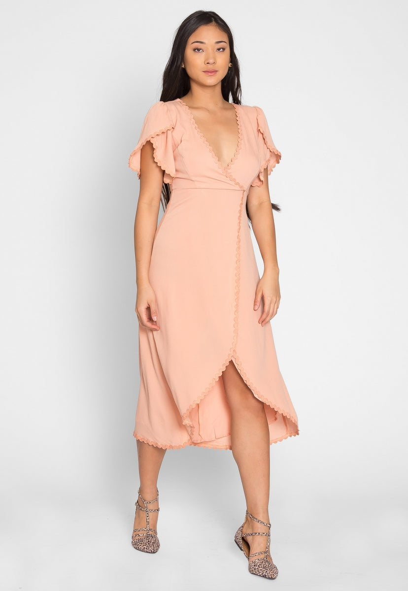 Open Field Surplice Maxi Dress in Blush - Dresses - Wetseal