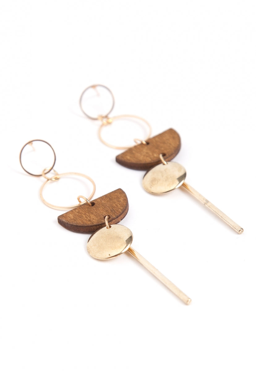 Amber Wood Drop Earrings in Mocha - Jewelry - Wetseal