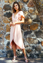 Open Field Surplice Maxi Dress in Blush