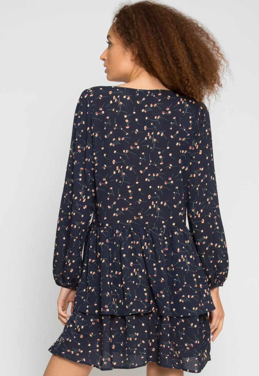 Pine Tiered Floral Dress in Navy - Dresses - Wetseal
