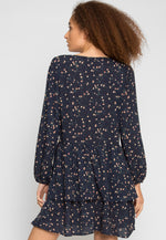 Pine Tiered Floral Dress in Navy