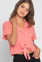 Textured Crop Button Up Shirt in Coral