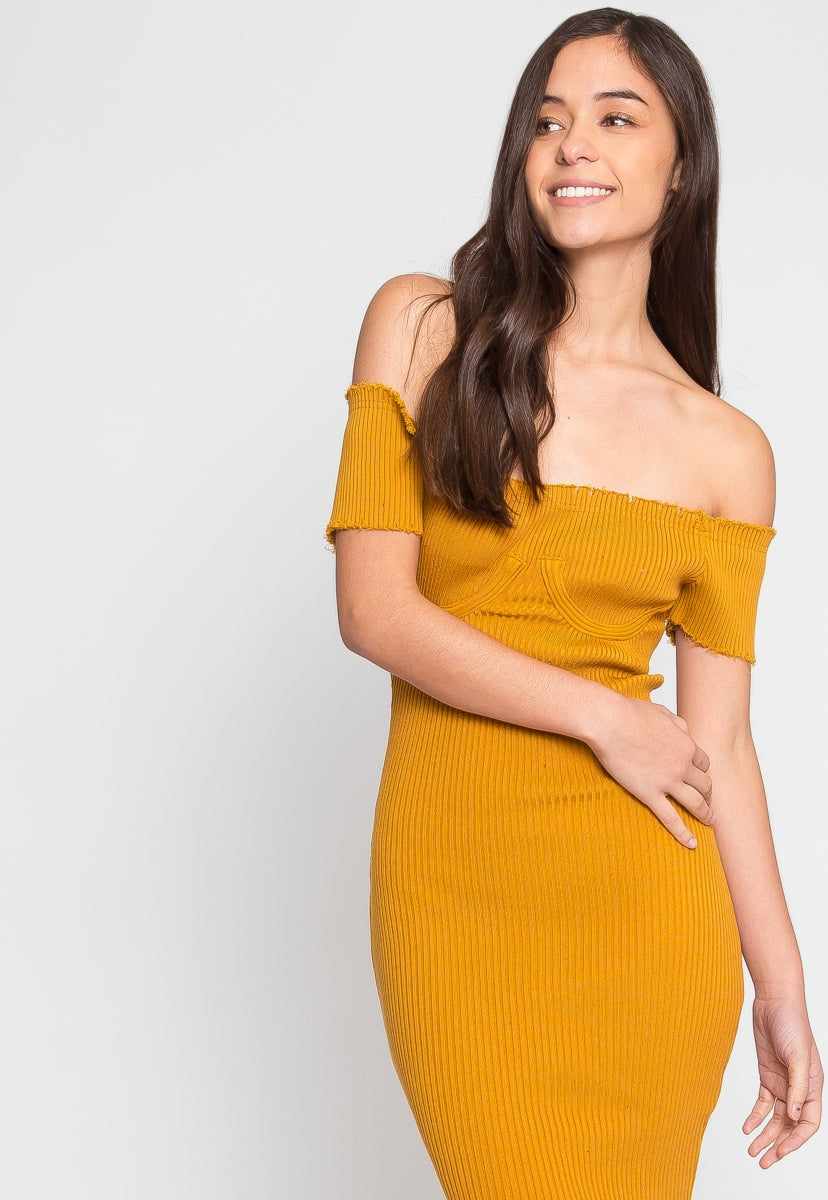 Faux Underwire Short Sleeve Dress in Mustard - Dresses - Wetseal