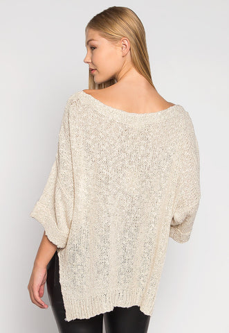 Lagoon Open Knit Lightweight Cardigan in Beige