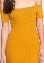 Faux Underwire Short Sleeve Dress in Mustard