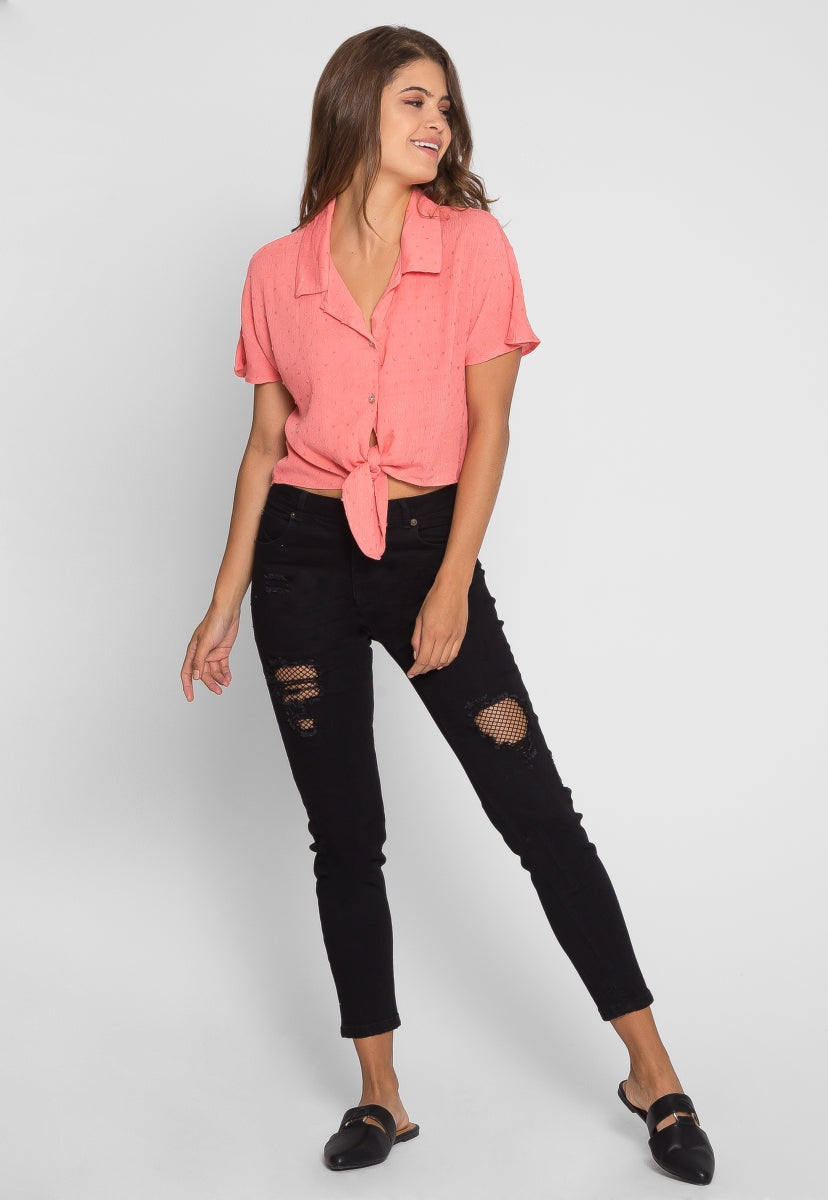 Textured Crop Button Up Shirt in Coral - Crop Tops - Wetseal