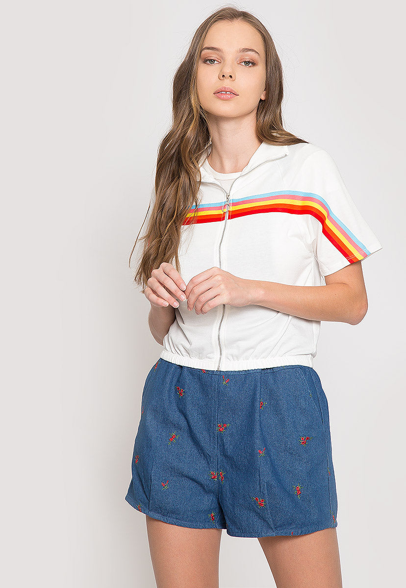 Retro Rainbow Trim Track Jacket - Jackets & Coats - Wetseal