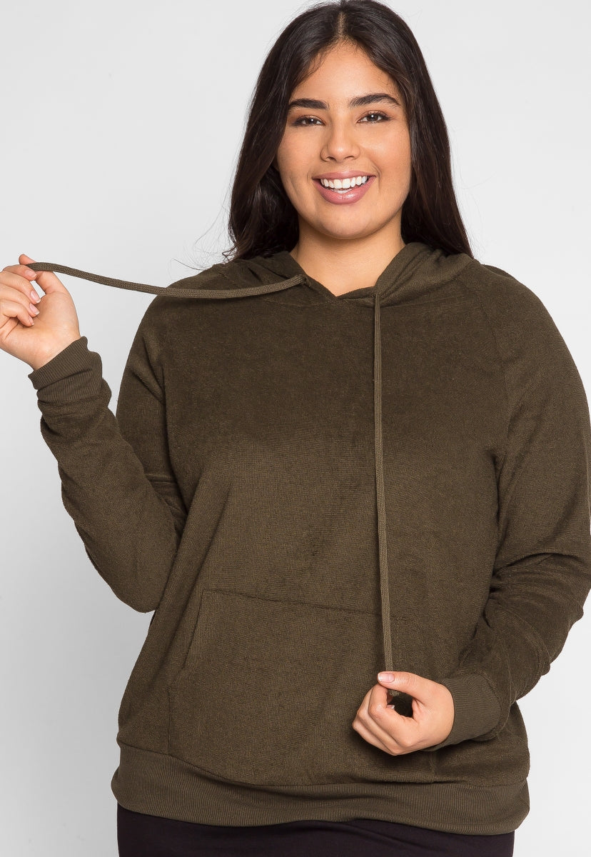 Plus Size Avenue Textured Hoodie in Olive - Plus Outerwear - Wetseal