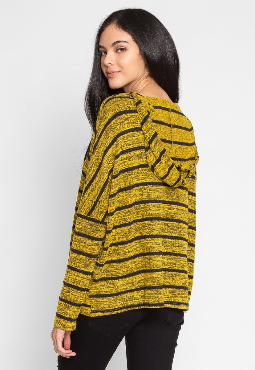 Stowe Stripe Hoodie in Yellow - Sweaters & Sweatshirts - Wetseal