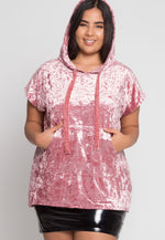 Plus Size Crushed Velvet Hoodie In Pink