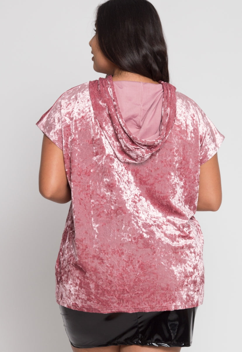 Plus Size Crushed Velvet Hoodie In Pink - Plus Outerwear - Wetseal