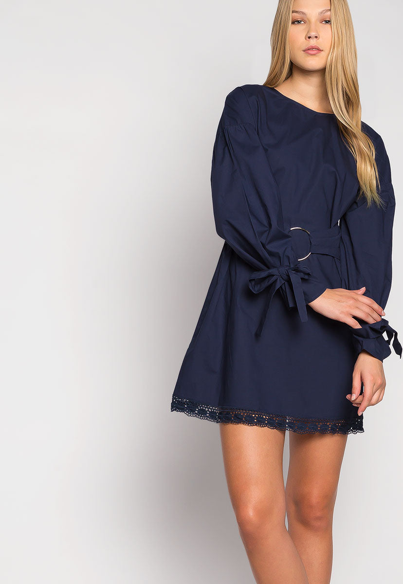 Under the Moonlight Crochet Hem Belted Dress - Dresses - Wetseal