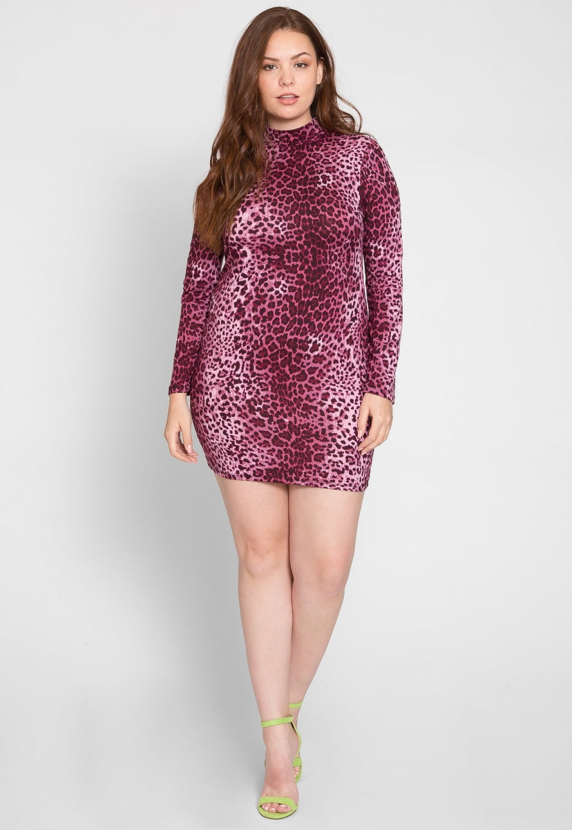 Plus Size Night Out Cheetah Bodycon Dress - Plus Dresses - Wetseal