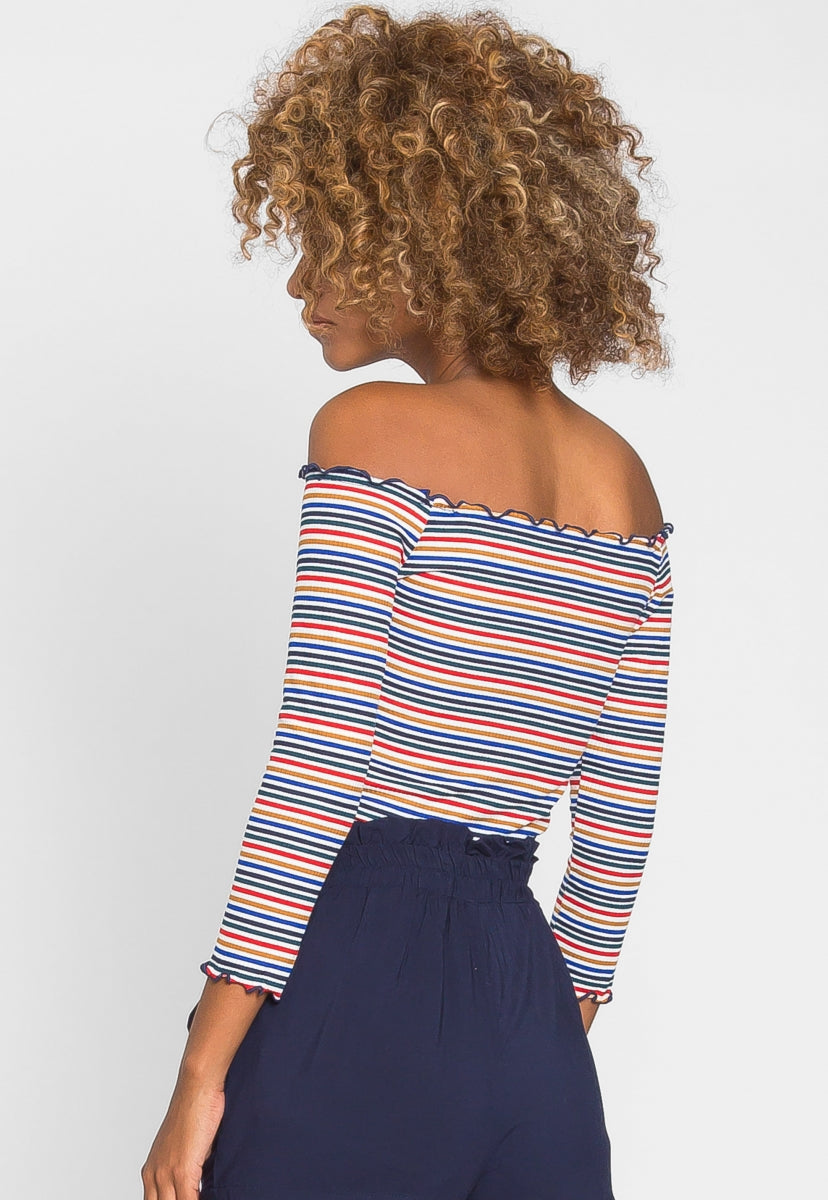 Candy Shop Stripe Off Shoulder Top - Shirts & Blouses - Wetseal