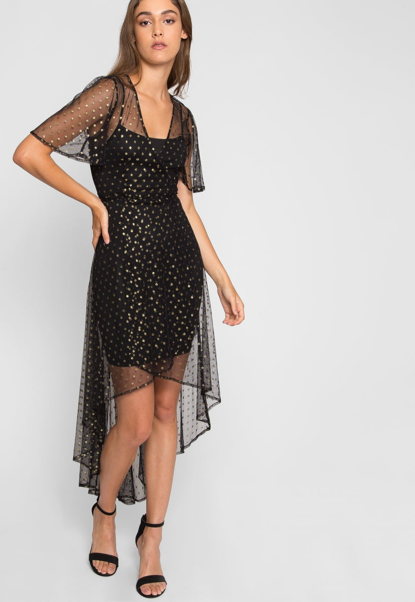 Glitters Mesh High Low Dress - Dresses - Wetseal