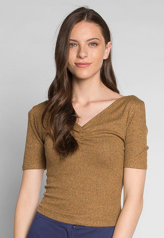Coffee Break Heathered Top in Brown