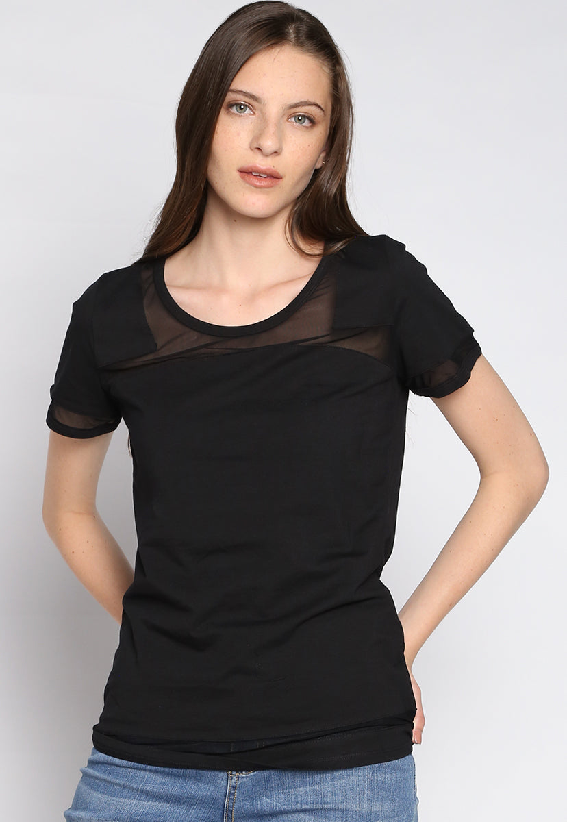 Run The Field Sheer Knit Top - T-shirts - Wetseal