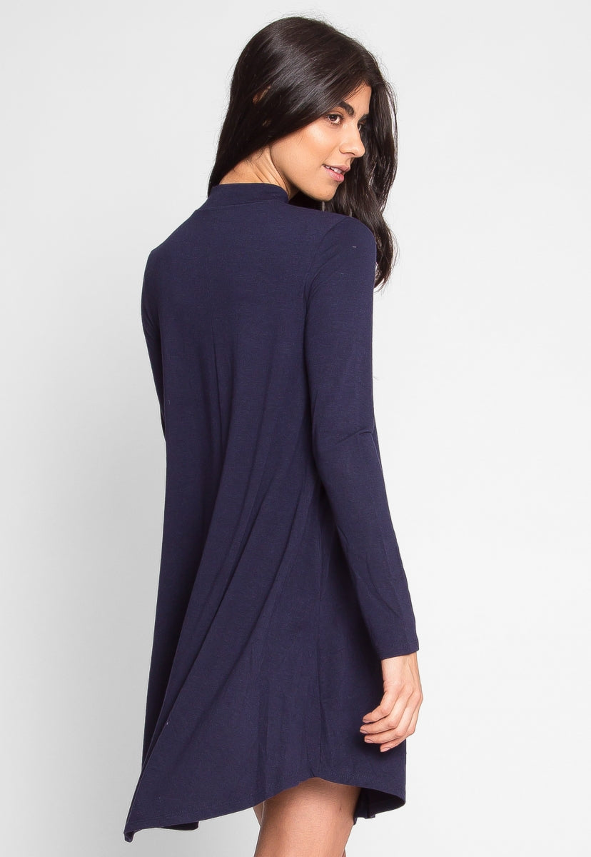 Breezy Mock Neck Trapeze Dress in Navy - Dresses - Wetseal