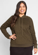 Plus Size Avenue Textured Hoodie in Olive