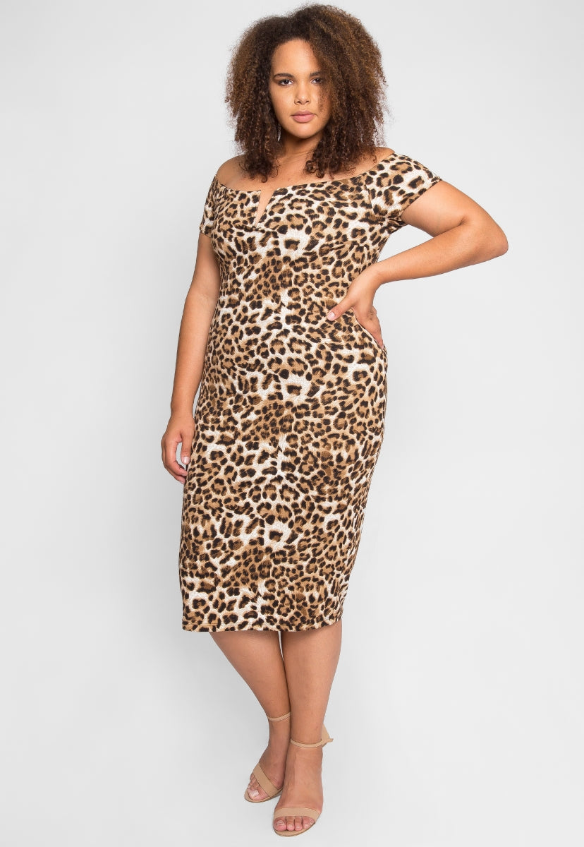 Plus Size Denise Leopard Bodycon Dress in Mocha