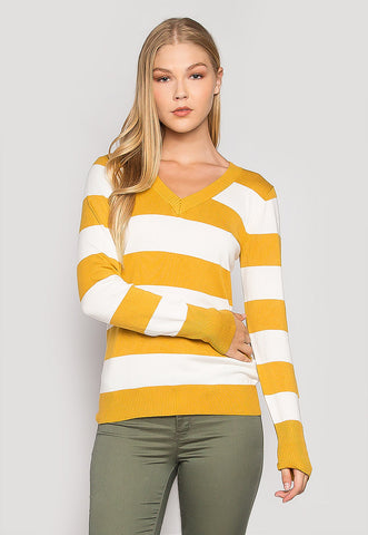 Be My Soulmate V-Neck Stripe Fitted Cardigan in Yellow