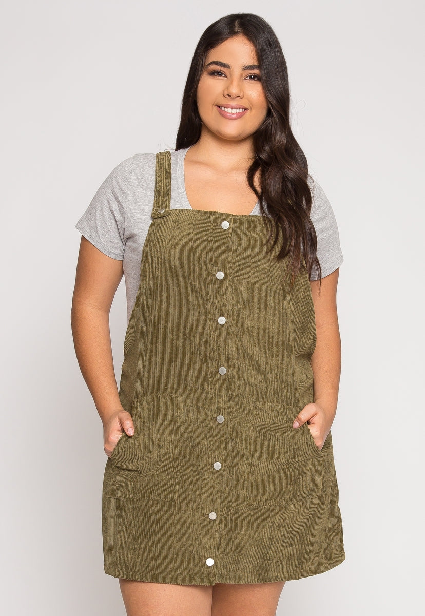 Plus Size Corduroy Pinafore Dress in Olive - Plus Dresses - Wetseal