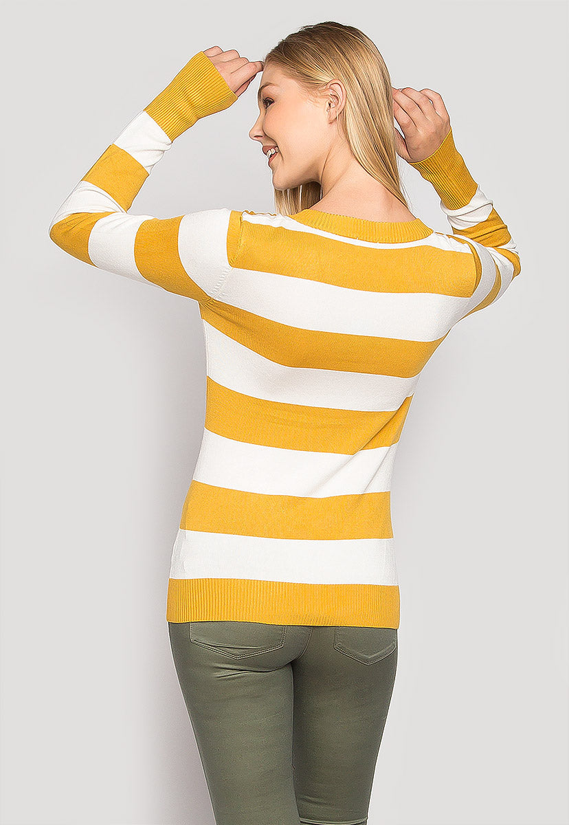 Be My Soulmate V-Neck Stripe Fitted Cardigan in Yellow - Sweaters & Sweatshirts - Wetseal