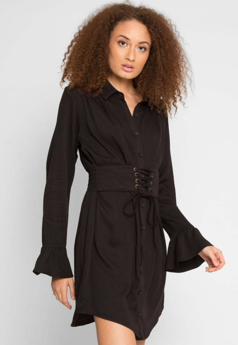 The Woodlands Shirt Dress in Black - Dresses - Wetseal