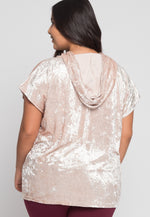 Plus Size Crushed Velvet Hoodie in Beige