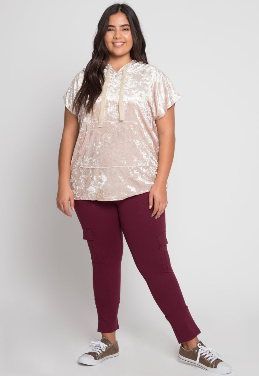 Plus Size Crushed Velvet Hoodie in Beige - Plus Outerwear - Wetseal