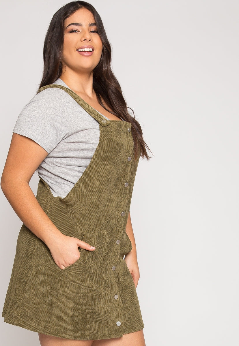 Plus Size Corduroy Pinafore Dress in Olive | Wet Seal