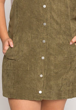 Plus Size Corduroy Pinafore Dress in Olive